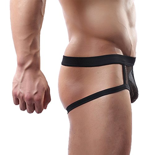 MyCHIC Men's Open Butt Jockstrap Briefs Fishnet Bikini Underwear (Black, M (Waistline (Fishnet Strap)