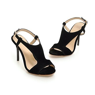 Sandalias Verano Zapatos Club Polipiel Oficina & Carrera visten casual hebilla Stiletto talón Black