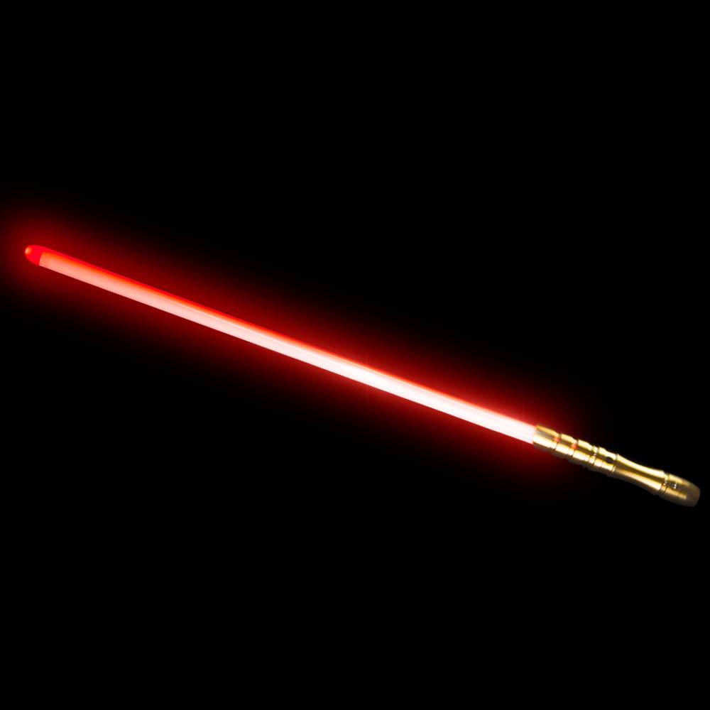 YDD LED Light Saber, Force FX Lightsaber with Sound and Light, Rechargeable Light Up Sword, Metal Hilt, Star Wars Toy for Man Kids(Gold Hilt Red Blade)