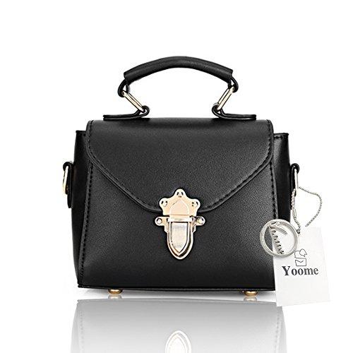 Yoome bolsos pequeños de la aleta remaches hebilla de bloqueo retro Corea bolsas para las niñas Top Handle bolsos de maquillaje - gris Negro