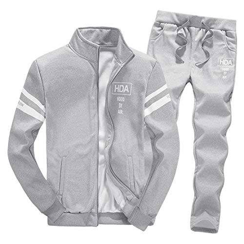 Mikey Store Men Winter Long Sleeve Zipper Tops Pants Sets Fashion Tracksuit -