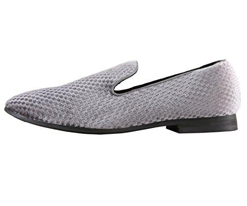 Amali Mens Checker Printed Velvet Chinese Smoking Slipper, Slip-On Loafer Dress Shoe, Style Hemingway Grey
