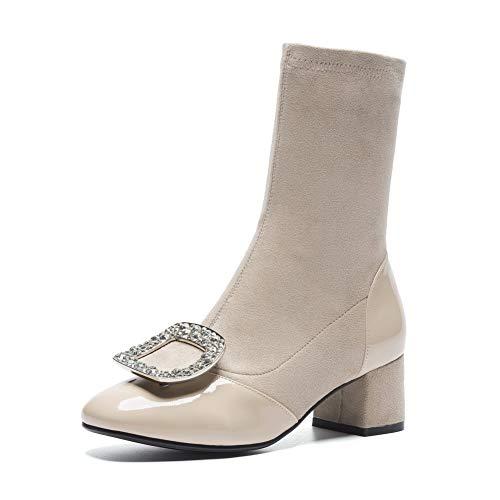 BalaMasa Womens Light-Weight Charms Bucket-Style Apricot Leather Boots ABM13791-4 B(M) US