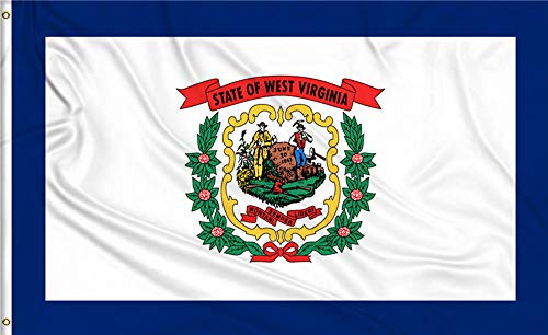 Aimto 3x5 ft West Virginia Flag - Bright Colors and Anti-Fading Materials - Polyester Canvas and Brass Buttonhole - Quality Assurance
