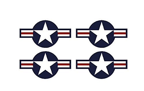 Set of 4 Remote Control (RC2) Red Blue White Stars and Bar 9″ RC Airplane Sticker Decal