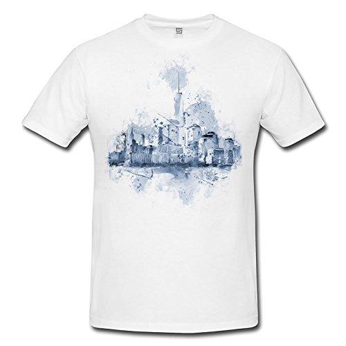 Skyline Herren T- Shirt , Stylisch aus Paul Sinus Aquarell Cyan