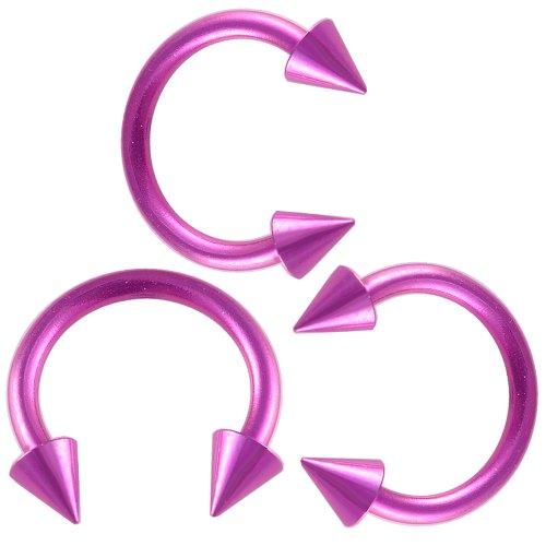 16g 16 gauge 1.2mm , 5/16 inch 8mm long - purple color anodized surgical steel circular barbell bulk eyebrow bar lip tragus horseshoe rings earrings lot ANZK- Pierced Jewelry Body - Barbell Circular Purple