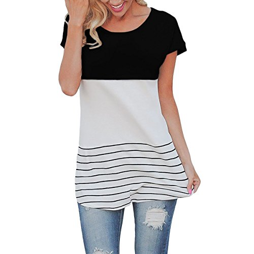 Round Eyelets Pastel - SRYSHKR Short Sleeve Round Neck Triple Color Block Stripe T-Shirt Casual Blouse (M, Black)