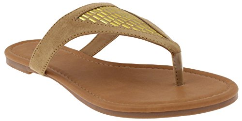 Capelli New Capelli York Faux Suede Natural Ladies Flip Flops New w1F7xqa