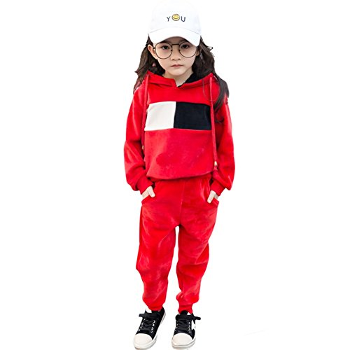Rexury Girl's Hoodie and Pants Set Velour Sweatsuit Tracksuit 2 Piece Set,Red,140/height 51.1-55.1 (Girls Velour Pants)