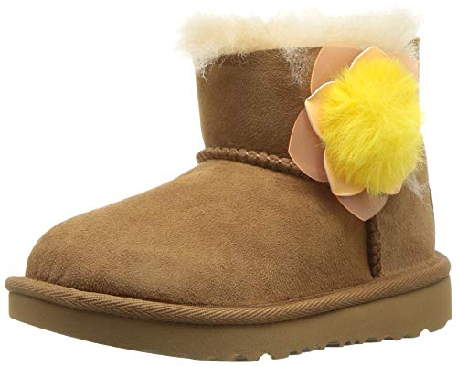 UGG Girls' T Mini Bailey II Cactus Flower Fashion Boot, Chestnut 8 M US Toddler (Uggs Leather Patent)