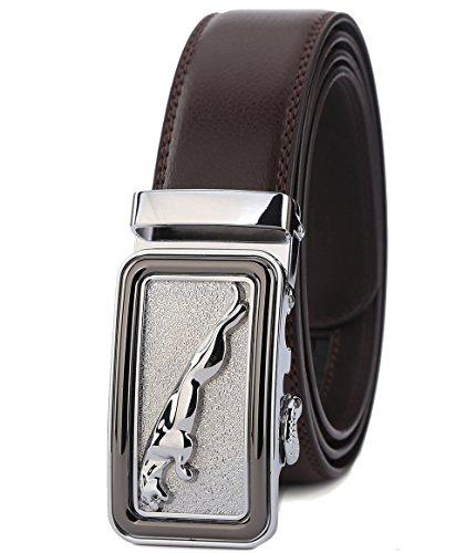 Brown Leather Designer Belt (ITIEZY Men's Leather Belt Ratchet Automatic Buckle (Sliding Buckle) Belt Man Designer Black Luxury)