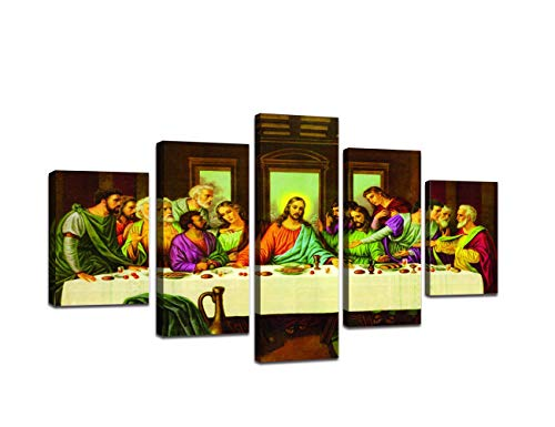 - Wall Decor for Living Room Last Supper Painting with Frame Jesus Wall Picture Canvas Print Catholic Faith Modern Painting 5 Piece Posters and Prints Giclee Artwork Stretched Ready To Hang(60''Wx32''H)