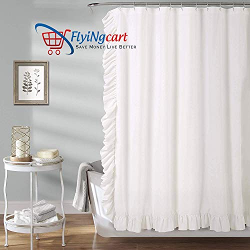 Flying Cart 1000-TC Hypoallergenic Ultra Soft Design 100% Egyptian Cotton Size 72x84 inch White Solid 1pc Living Room Home Decorative Corner Ruffle Shower Curtains