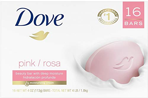 Dove Beauty Cream Bar Soaps Pink, 4.76 Oz / 135 Grams Each - 16 Bars
