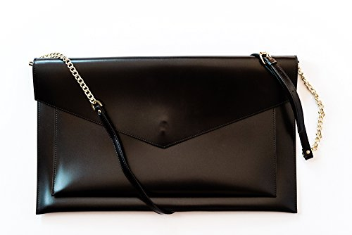 Glass Ladder & Co 16-Inch Vegan Leather Laptop and Tablet Bag for Women, Black - Ultra Suede Clutch