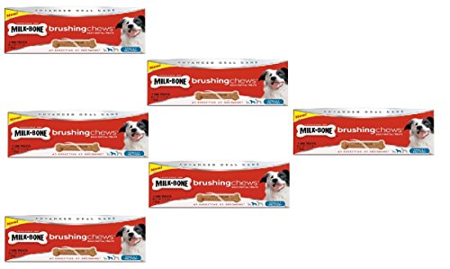 Milk-Bone Brushing Chews Small/Medium Daily Dental Dog Treats 42 Total Count in a Six Box Bundle