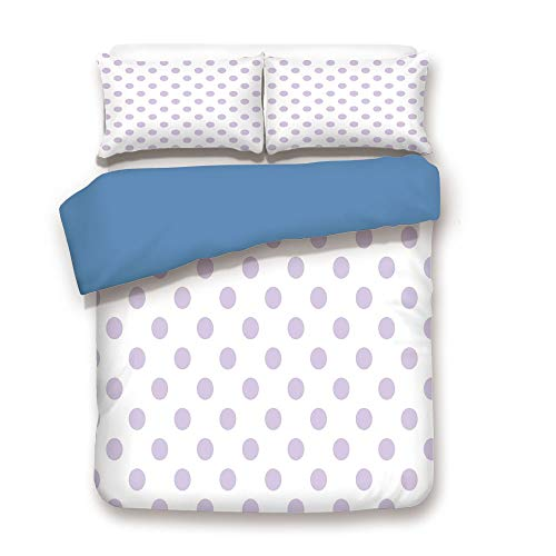iPrint Duvet Cover Set,Blue Back,Lavender,Old Fashioned Retro Design with Polka Dots Classical Spotted Tile Pattern,Lavander White,Decorative 3 Pcs Bedding Set by 2 Pillow Shams,Queen Size -