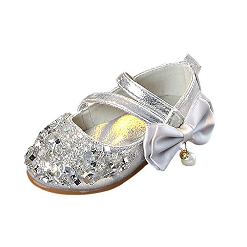 Tantisy ♣↭♣ Baby Girl Moccasins Princess Sparkly Premium Lightweight Soft Sole Mary Jane Crown Princess Dress Shoes Silver