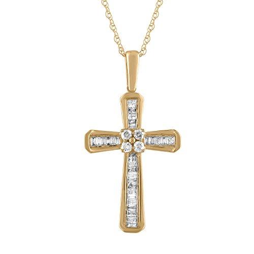- Diamond Cross Pendant in 10K Yellow Gold (0.20cts)