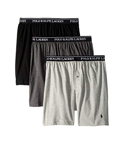 Brief Underwear Boxer Knit (Andover Heather - Polo Ralph Lauren Knit Boxer Shorts with Moisture Wicking 100% Cotton - 3 Pack (XL, Grey Asst) - X-Large)