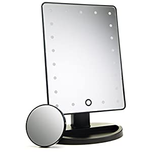 Absolutely Luvly Lighted Makeup Mirror with Magnification | Vanity Mirror with Lights -Touch Screen Dimming -Small Detachable 10x Magnifying Makeup Mirror -Portable Makeup Accessories | Make Up Mirror