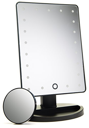 Natural Daylight Lighted Makeup Mirror / Vanity Mirror with Touch Screen Dimming, Detachable 10X Magnification Spot Mirror, Portable Convenience and High Definition Clarity Cosmetic Mirror ()