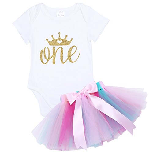 FEESHOW Baby Girls' My First Birthday Outfit Shirt Top/Romper Bodsyuit with Tutu Skirt Dress (Girls Dressing Up Outfits)