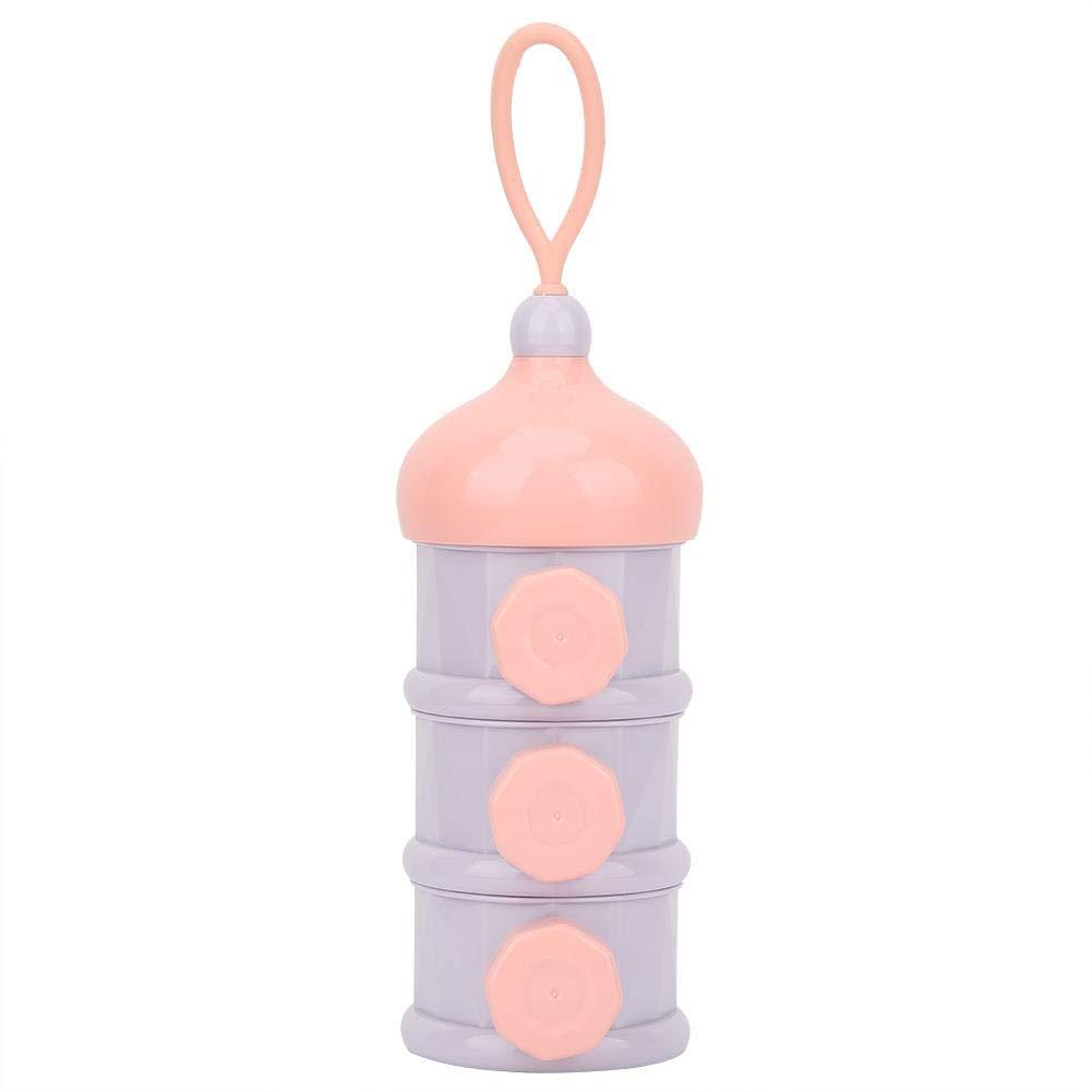 Bo/îte Alimentaire B/éb/é 3 Couches Distributeur de Poudre de Lait Pot de Conservation R/écipient Nourriture B/éb/é Pink