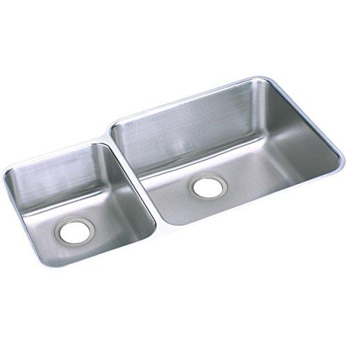 Gourmet Deep Double Bowl - Elkay Lustertone ELUH3520L Offset 40/60 Double Bowl Undermount Stainless Steel Kitchen Sink
