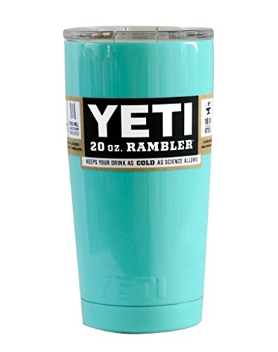 Yeti Coolers Custom Stainless Steel 20 Ounce Rambler Tumbler with Lid - PowderCoated Seafoam Green - Keeps Your Drink Hot or Cold for Hours