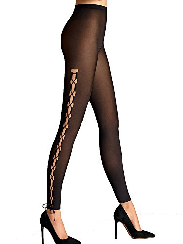 Wolford Women's Lace-Up Leggings Gobi/Black Pantyhose (Leggings Footless Wolford)