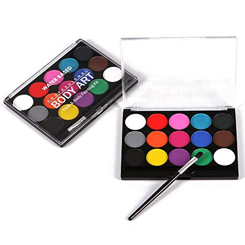Face Paint Kit 15Colors Face Painting Kit Body Makeup Non Toxic Water Paint Oil with Brush for Christmas Halloween Fancy Carnival Vibrant Party ()