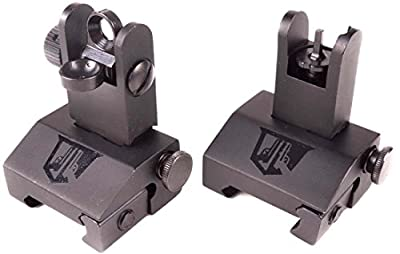 Ozark Armament Flip Up Backup Battle Sights Picatinny Mount AR Pattern Flat-top Upper Co-Witness Iron Sights BUIS