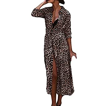 YEBIRAL Para Mujer Vestido Largo de Manga Leopardo Largo Playa ...