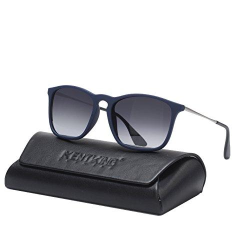 Square Sunglasses for Men Scratch Resistant Lightweight Rectangular Retro Matte Frame 400UV Protection (Blue/ Gradient Grey Lens)  ()