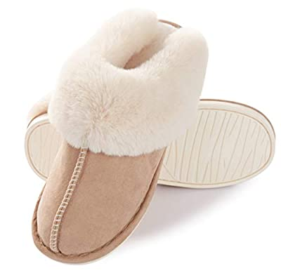 Womens Slipper Memory Foam Fluffy Soft Warm Slip On House Slippers,Anti-Skid Cozy Plush for Indoor Outdoor