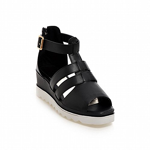 Carolbar Womens Zipper Buckle Fashion Comfort Casual Platform Wedges Sandals Black rPqr3