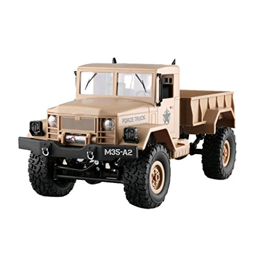 (Alluing High Speed Electric Strong power RC Military Truck Army 1:16 4WD Tracked Wheels Crawler Off-Road Car RTR Toy NEW (yellow))