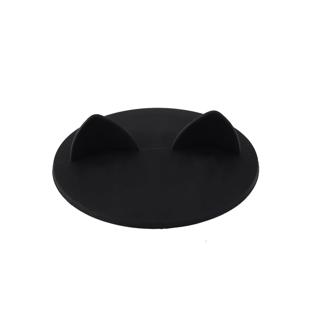 Cup Cover Cat Ears-shaped Foodgrade Silicone Heatresistant Safe Healthy Silicone Lid Samber Black