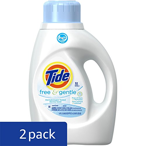 Review Tide Free & Gentle HE Turbo Liquid Laundry Detergent, Pack of 2, Unscented, 1.47 L (32 Loads)