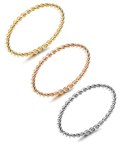 Twist Thin (LOYALLOOK 3pcs Stainless Steel Tri-Color 1.5mm Twist Stacking Ring Set Knuckle Midi Rings 5#)