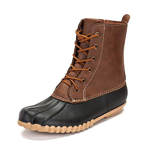 DKSUKO Women's Duck Boots with Waterproof Zipper (6 B(M) US, Black No Fur)