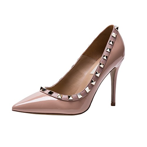Genuine Pumps High Patent Pan Kaitlyn Pointed Gold Studs Heel Poudre Trim Toe Stiletto Studded Leather Nude pzaqY5Aw