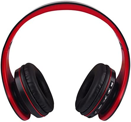Gacho Stereo Wireless Headset, Foldable Design, Soft Memory-Protein Earmuffs Isolate Outside Noise greatly, Compatible with Most Electronic Devices-Red Black