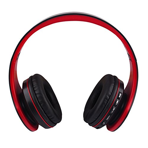 Gacho Stereo Wireless Headset, Foldable design, Soft Memory-Protein Earmuffs isolate outside noise greatly, Compatible with most electronic devices-Red&Black
