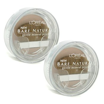 L'Oreal Bare Naturale Gentle Mineral Powder Compact with Brush Duo Pack - No. 408 Soft Ivory - 2x9.5g/0.33oz