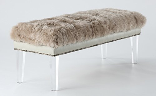 Tov Furniture The Luxe Collection Modern Sheep Skin Upholstered Wood Accent Bench with Lucite Legs, Brown