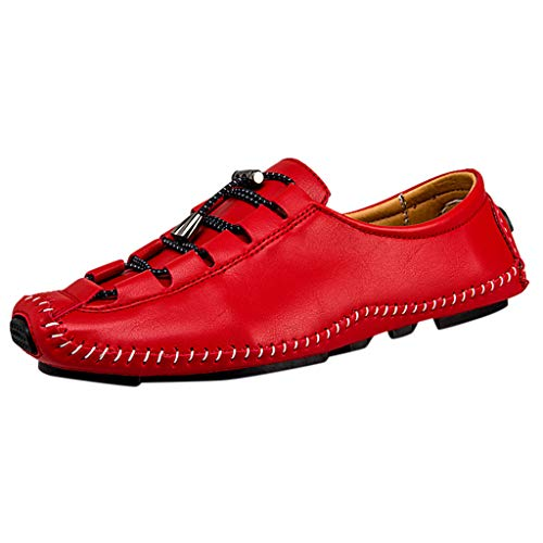Flat Loafers,ONLY TOP Men's Casual Penny Loafers Breathable Lace-Up Driving Boat Shoes Handmade Dress Shoes Red