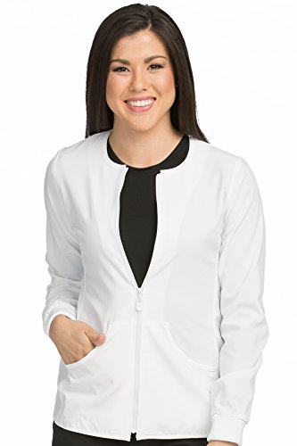Med Couture Stretch Zip Front Warm Up Scrub Jacket Women, White, X-Large (Registered Jackets Nurse)